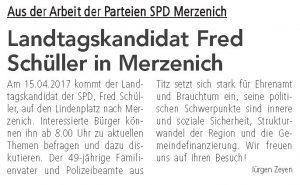 Ostersamstag Landtagskandidat Fred Schüller in Merzenich
